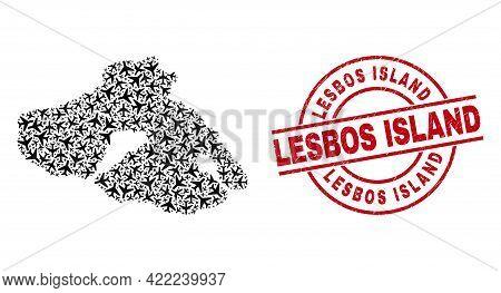 Lesbos Island Grunged Badge, And Lesbos Island Map Mosaic Of Air Force Elements. Mosaic Lesbos Islan
