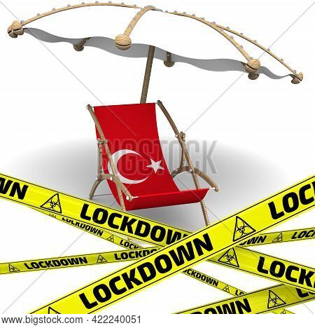 Tourist Lockdown In Turkey. Empty Sunbed With A Flag Of Turkey And An Umbrella On A White Surface Wi