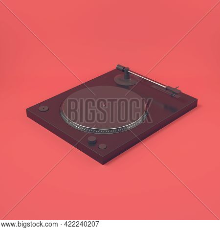 Black Turntable On Bright Red Background. 3d Render