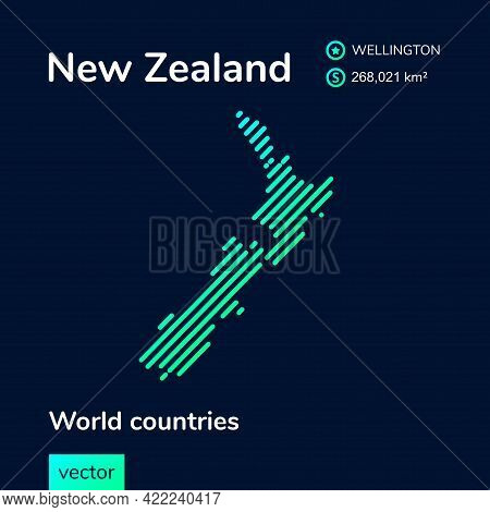 Vector Creative Digital Neon Flat Line Art Abstract Simple Map Of New Zealand With Green, Mint, Turq