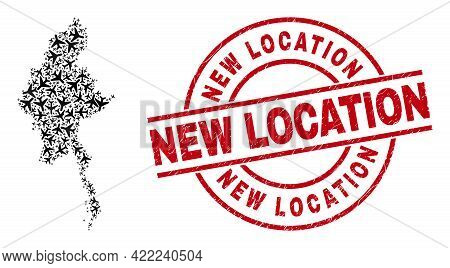New Location Grunged Seal Stamp, And Myanmar Map Mosaic Of Air Plane Elements. Mosaic Myanmar Map De