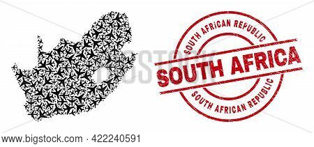 South African Republic Scratched Seal Stamp, And South African Republic Map Collage Of Aviation Item
