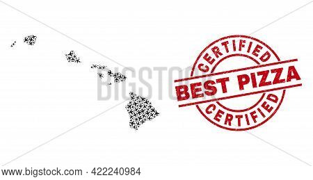 Certified Best Pizza Rubber Stamp, And Hawaii State Map Mosaic Of Airplane Elements. Mosaic Hawaii S
