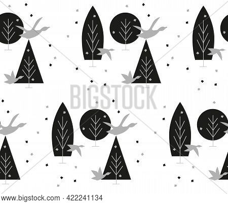 Forest Landscape, Flock Of Birds, Leaves Are Falling From Trees. Surrounding Autumn Forest Landscape