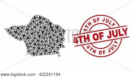 4th Of July Grunged Stamp, And Faial Island Map Mosaic Of Aeroplane Elements. Mosaic Faial Island Ma