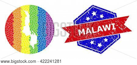 Dotted Spectrum Map Of Malawi Mosaic Created With Circle And Carved Shape, And Textured Seal Stamp.
