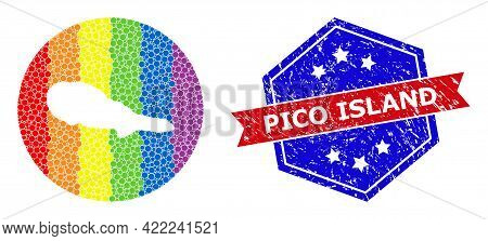 Pixel Spectral Map Of Pico Island Mosaic Created With Circle And Hole, And Scratched Stamp. Lgbtq Ra
