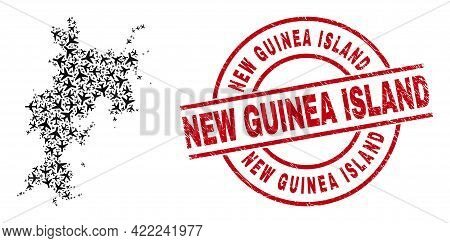 New Guinea Island Rubber Badge, And Komodo Island Map Collage Of Air Force Items. Collage Komodo Isl