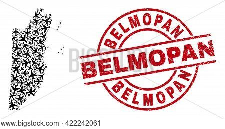 Belmopan Distress Seal, And Belize Map Collage Of Aircraft Elements. Collage Belize Map Created Usin