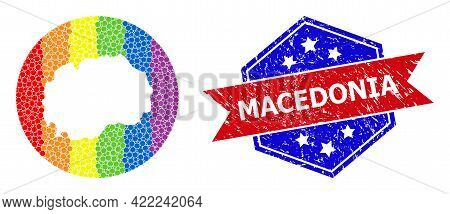 Dotted Rainbow Gradiented Map Of Macedonia Collage Designed With Circle And Hole, And Grunge Badge.