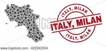 Italy, Milan Distress Stamp, And Campania Region Map Mosaic Of Aviation Elements. Mosaic Campania Re