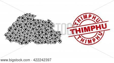 Thimphu Grunge Seal Stamp, And Bhutan Map Mosaic Of Air Force Items. Collage Bhutan Map Designed Wit