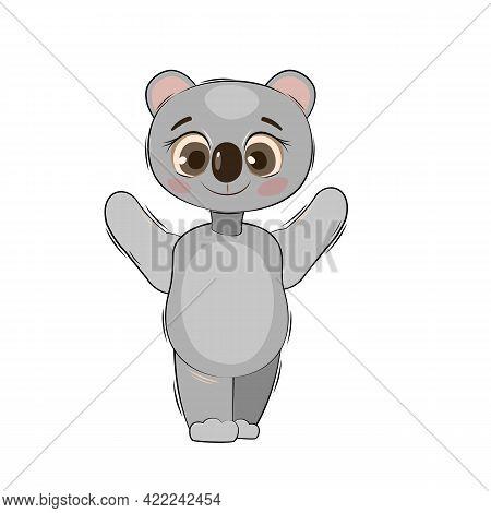 Little Koala Bear Cub. Isolated Object On A White Background. Cheerful Kind Animal Child. Cartoons F