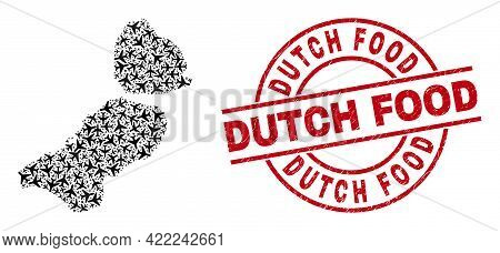 Dutch Food Rubber Seal, And Flevoland Province Map Collage Of Airplane Elements. Collage Flevoland P