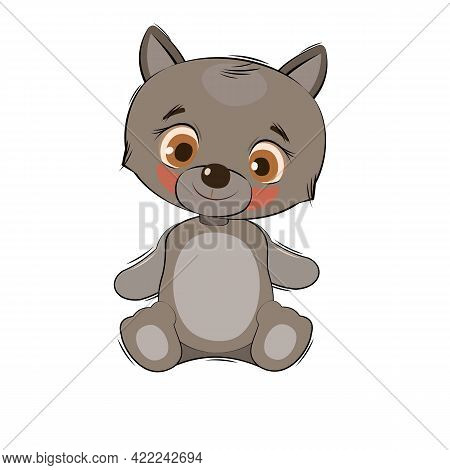 Little Wolf Cub. Isolated Object On A White Background. Cheerful Kind Animal Child. Cartoons Flat St