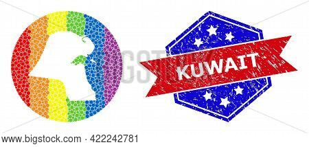 Dotted Spectrum Map Of Kuwait Mosaic Created With Circle And Hole, And Distress Badge. Lgbtq Spectru