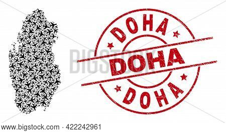 Doha Grunge Stamp, And Qatar Map Mosaic Of Air Force Items. Mosaic Qatar Map Designed With Air Force