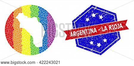 Pixelated Spectrum Map Of Argentina - La Rioja Mosaic Created With Circle And Subtracted Shape, And