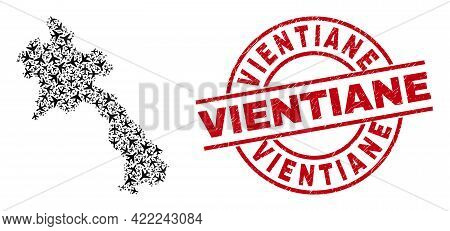 Vientiane Textured Stamp, And Laos Map Collage Of Air Plane Elements. Collage Laos Map Created With
