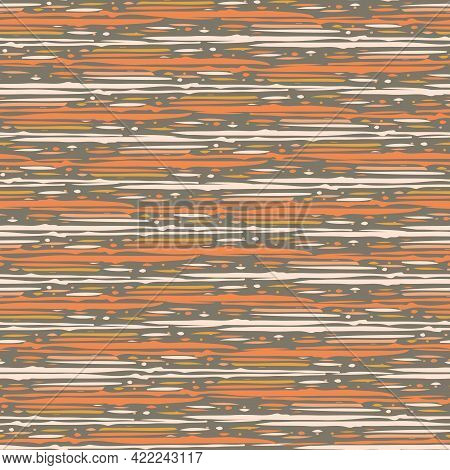 Abstract Densely Striped Painterly Vector Seamless Pattern Background. Backdrop With Irregular Horiz