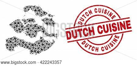 Dutch Cuisine Grunge Stamp, And Zeeland Province Map Collage Of Air Plane Items. Collage Zeeland Pro