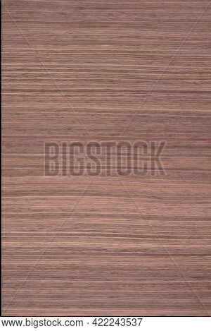 Striped American Walnut Veneer Background, Texture In Strict Color For Home Design.