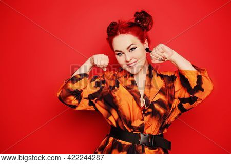 Cute Girl On A Red Background. Red Hair And Tunnels In The Ears, Red Dress And Lips. Anime Poses. Th