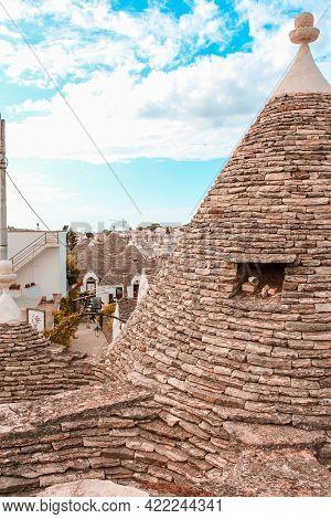 Alberobello, Italy - June 30, 2014: Close Up View Of A Conical Roof In Trulli Village In Alberobello
