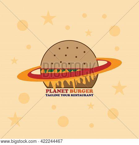 Planet Burger Design Logo Restaurant. Burger Design Logo Vector