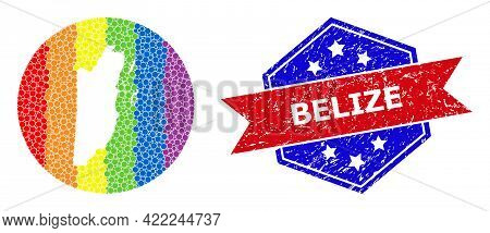 Pixelated Spectral Map Of Belize Mosaic Formed With Circle And Hole, And Grunge Seal Stamp. Lgbtq Ra
