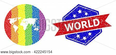 Pixel Spectrum Map Of World Mosaic Created With Circle And Subtracted Space, And Textured Seal Stamp