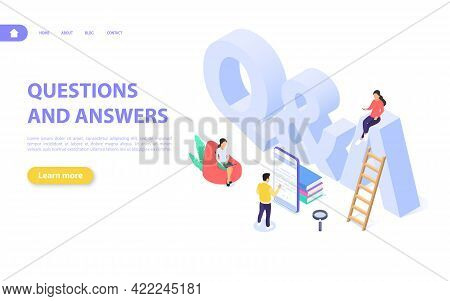 Questions And Answers Concept. Men And Women Are Looking For Answers Next To The Big Letters Q And A