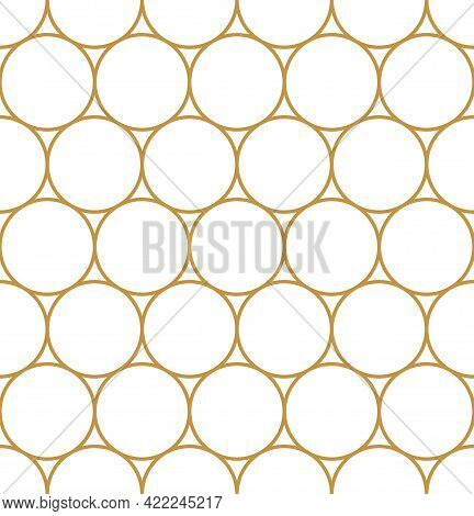 Vector Seamless Geometry Pattern Circle, Gold Color. Geometric Background. For Fabric, Wallpaper, Sc