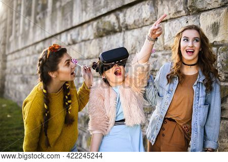 Grup Of Girl Having Fun Together  With New Technology, Smile. Sun. Woman Using Vr Headset Glasses 36