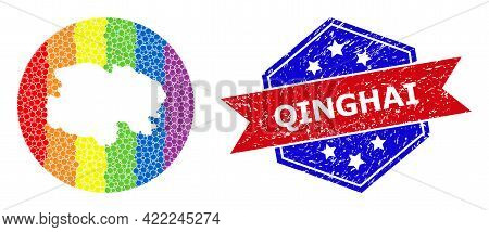 Dotted Spectrum Map Of Qinghai Province Collage Designed With Circle And Subtracted Shape, And Textu