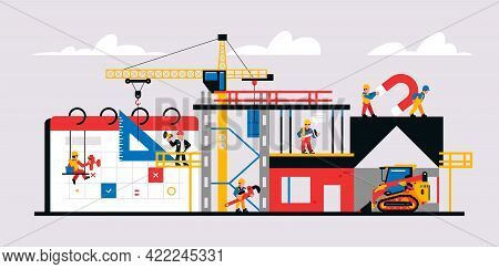 Construction Site And Construction Planning. Unfinished Building Readiness Calendar, Equipment, Mach