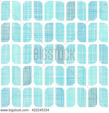 Vector Woven Fabric Blue Rounded Rectangles Seamless Pattern Background. Repeating Linen Textile Tex