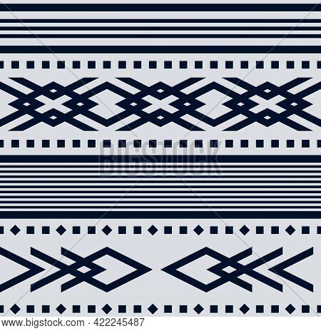 Vector Gray Tribal Stripes Seamless Pattern Background For Fabric, Wallpaper, Card, Invitations Or S