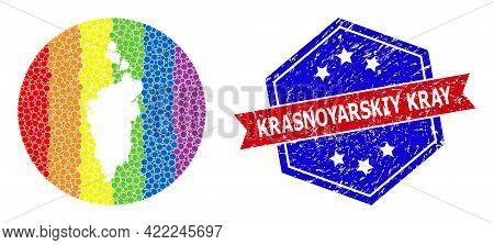 Pixel Spectrum Map Of Krasnoyarskiy Kray Mosaic Designed With Circle And Stencil, And Grunge Seal St