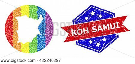 Dot Spectral Map Of Koh Samui Collage Created With Circle And Carved Shape, And Distress Stamp. Lgbt