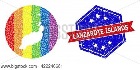 Pixel Spectrum Map Of Lanzarote Islands Mosaic Designed With Circle And Stencil, And Scratched Seal