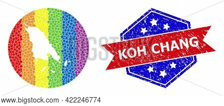 Pixelated Spectrum Map Of Koh Chang Collage Created With Circle And Subtracted Space, And Textured S