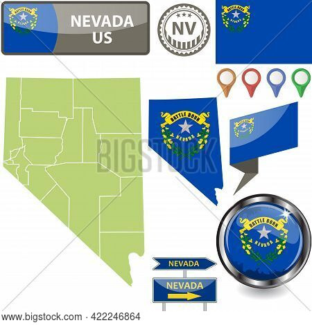 Map Of Nevada State, Us With Flag And Counties. Vector Image