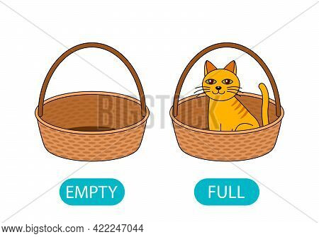 Empty And Full Basket With A Cat. The Concept Of Teaching Children The Opposite Adjective. Vector Il