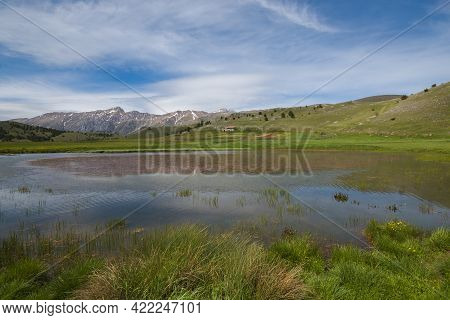 Panoramic View Of Filetto Lake In The Abruzzo Mountains, Italy