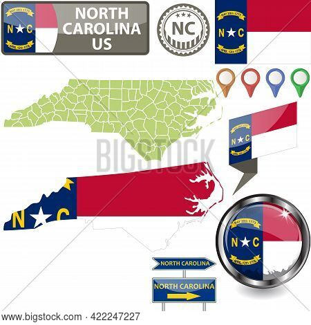 Map Of North Carolina State, Us With Flag And Counties. Vector Image
