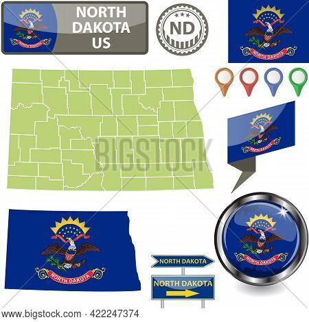 Map Of North Dakota State, Us With Flag And Counties. Vector Image