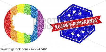 Dotted Spectral Map Of Kujawy-pomerania Province Mosaic Composed With Circle And Subtracted Space, A