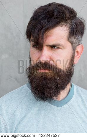 My Hair Speaks For Itself. Serious Guy Wearing Shaped Beard And Styled Hair. Hairy Hipster With Styl