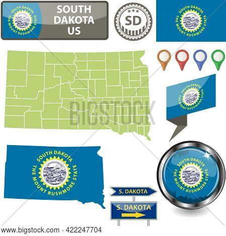 Map Of South Dakota State, Us With Flag And Counties. Vector Image